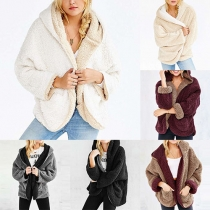 Trendy Contrast Color Hooded Bat Sleeve Fuzzy Cardigan For Women