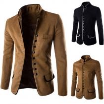 Fashion taillierte Herren Tunika Blazer mit Stehkragen und Einreiher-Knopfleiste
