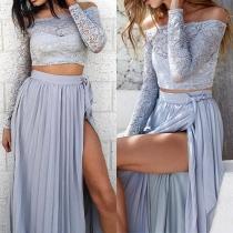 Sexy stylische elegante Zweiteiler Abendkleid mit Crop Tops und Maxirock