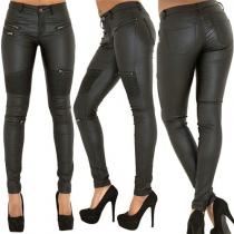 Damen Slim Hose aus Kunstleder mit Zierreißverschlüssen