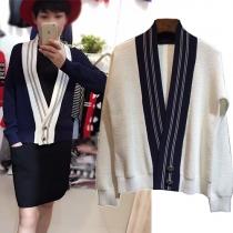 Stylish Contrast Color Striped Spliced V-neck Long Sleeve Knit Sweater Cardigan