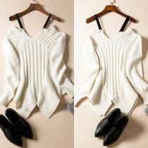 Sexy Long Sleeve Off Shoulder V-neck Irregular Hemline Sling Knit Sweater