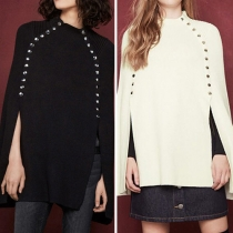 Fashion Solid Color Side Metal Buttons Down Knit Cloak