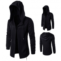 Casual Style Solid Color Long Sleeve Hooded Open-front Men's Cardigan