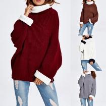 Trendy Contrast Color Turtleneck Long Sleeve Back Slit Loose-fitting Sweater