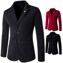 Fashion Solid Color Lapel Long Sleeve Single-breasted Men's Blazer