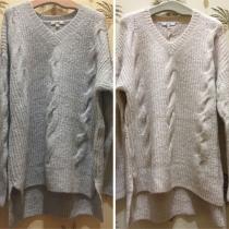 Fashion Solid Color Long Sleeve V-neck High-low Hem Sweater