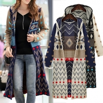 Fashion Long Sleeve Hooded Printed Knit Cardigan