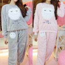 Stylische kuschelige flauschige Damen Schlafanzug Pyjama