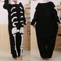 Fashion Skeleton Pattern Hooded One-piece Pajamas Sleepwear