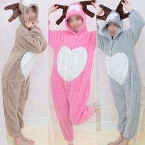 Niedliche Karikatur Lamm Schaf Kostüm Overall Pajamas Nachtwäsche