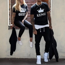 Fashion Casual Ehepaar T-Shirt -  King und Queen mit Krone Print