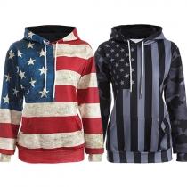 Fashion American Flag Printed Long Sleeve Hoodies