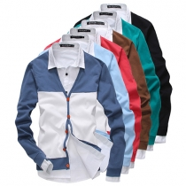 Fashion Herren Strickpullover Cardigan mit Polo-Kragen, Knopfleiste - in Kontrastfarbe