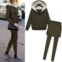 Fashion Solid Color Hooded Sweatshirt + Leggings Two-piece Set