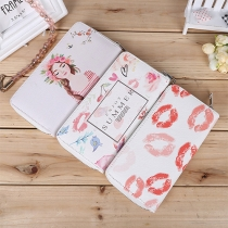 Sweet Style Red-lips Printed Long Wallet Clutch