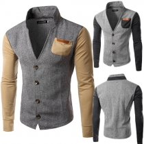 Fashion Contrast Color Long Sleeve Stand Collar Men's Jacket
