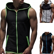 Fashion Contrast Color Sleeveless Hooded Men's Vest