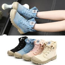Retro Style High Top Sneaker Boots aus Canvas in Denimoptik