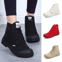 Fashion Round Toe Flat Heel Lace-up High-cut Canvas Shoes