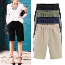 Fashion Solid Color Elastic Waist Knee Shorts