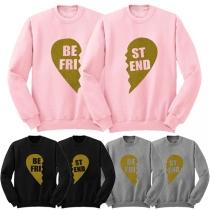 Fashion Sweatshirt mit Pint Best Friend - aus Baumwollmischung mit Samt im Inner
