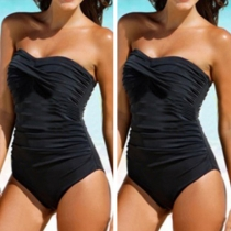 Sexy Strapless Solid Color One-piece Swimsuit