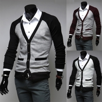 Fashion V-neck Contrast Color Long Sleeve Slim-fit Knit Cardigan for Men