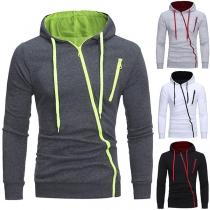 Fashion Solid Color Long Sleeve Oblique Zipper Hooded Men's Sweatshirt