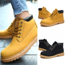 British Style Round Toe Flat Heel Lace-up Couple Martin Boots Booties