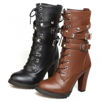 Retro Style Round Toe Thick High-heeled Rivets Lace-up Martin Boots