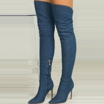 Fashion Pointed Toe High-heeled Denim Over-the-knee Boots