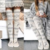 Fashion Elk Printed Over-the-knee Socks