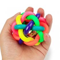 Nettes Gummispielzeug in Regenbogenfarben mit Glöckchen und Ball für Welpen/Haustiere