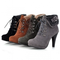 Fashion High-heeled Round Toe Plush Lining Lace-up Ankle Boots