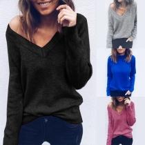 Fashion Damen Pullover mit V-Ausschnitt