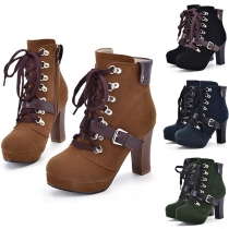 Retro Style Thick Heel Round Toe Lace-up Martin Boots