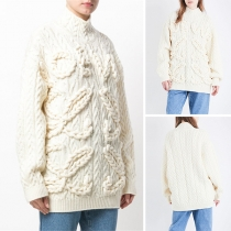 Fashion Solid Color Long Sleeve Mock Neck Pullover Sweater