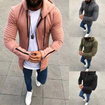Fashion Herren Sweatjacke Sweatshirt mit Kapuze, Ziernähte Rippen