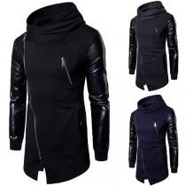 Fashion Heeren Sweatjacke mit Kapuze, Reißverschluss und Ärmel aus Leder