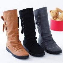 Fashion Boots mit praktischen Schnürungen am wadenhohen Schaft