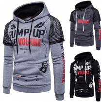 Stilvolle Herren Sweatshirt Hoodie mit großem Logo-Print und Netzeinsatz