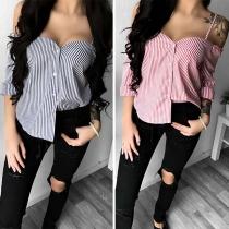 Sexy stilvolle Off-shoulder Bluse mit Streifenmuster