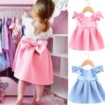Süße stilvolle Kinder Kleid mit Spitzenbesatz, Volant und Bowknot