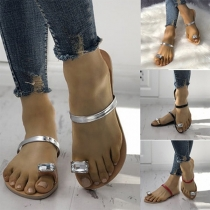 Simple Style Rhinestone Inlaid Flat Heel Slippers