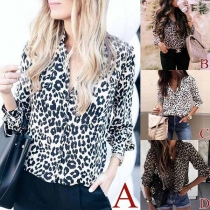 Fashion Notched Lapel Long Sleeve Leopard Print Blouse