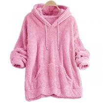 Fashion Solid Color Long Sleeve Plush Hoodie