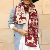 Cute Elk Printed Knit Scarf