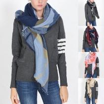Fashion Contrast Color Plaid Shawl Scarf