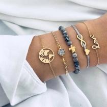 Fashion Hollow Out Love Letters Alloy Bracelet Five-piece Set